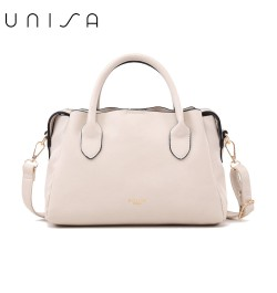 UNISA Faux Leather Convertible Top Handle Bag-Beige
