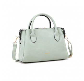 UNISA Faux Leather Convertible Top Handle Bag-Green