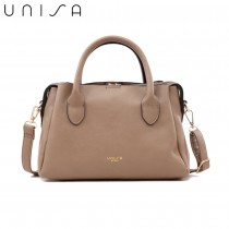 UNISA Faux Leather Convertible Top Handle Bag-Khaki