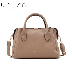 UNISA Faux Leather Convertible Top Handle Bag-Khaki