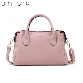 UNISA Faux Leather Convertible Top Handle Bag-Pink