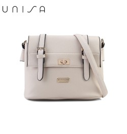 UNISA Saffiano Texture Mini Sling Bag With Turn Lock-Beige