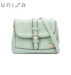 UNISA Faux Leather Sling Bag With Flap Over Closure-Green
