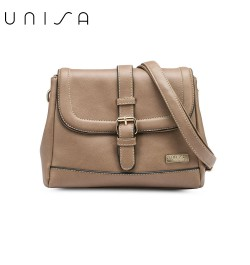 UNISA Faux Leather Sling Bag With Flap Over Closure-Khaki