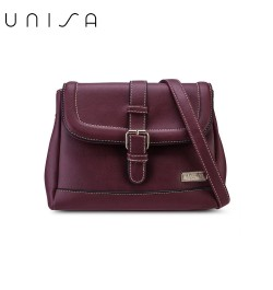 UNISA Faux Leather Sling Bag With Flap Over Closure-Maroon