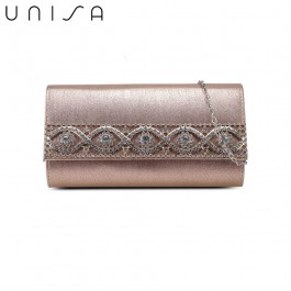 UNISA Dinner Clutch With Glittering Stones Embellishment-Apricot