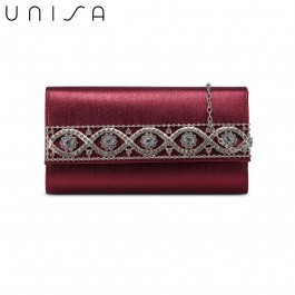 UNISA Dinner Clutch With Glittering Stones Embellishment-Maroon