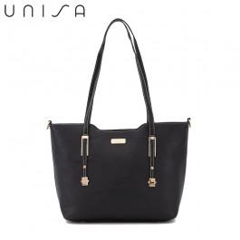 UNISA Saffiano Convertible Tote Bag-Black