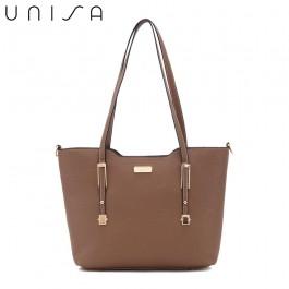 UNISA Saffiano Convertible Tote Bag-Khaki