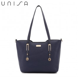 UNISA Saffiano Convertible Tote Bag-Navy Blue
