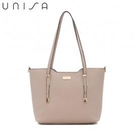 UNISA Saffiano Convertible Tote Bag-Taupe