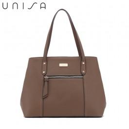 UNISA Contrast Edge Saffiano Shoulder Bag-Khaki