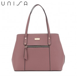 UNISA Contrast Edge Saffiano Shoulder Bag-Purple