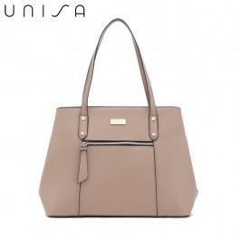 UNISA Contrast Edge Saffiano Shoulder Bag-Taupe