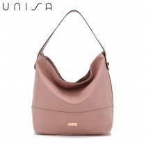 UNISA Faux Leather Convertible Hobo Bag-Pink
