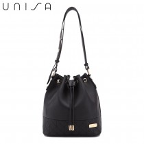 UNISA Faux Leather Quilted Bucket Bag-Black