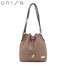 UNISA Faux Leather Quilted Bucket Bag-Khaki