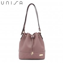 UNISA Faux Leather Quilted Bucket Bag-Purple