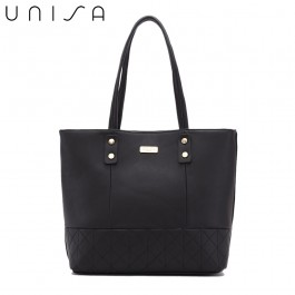 UNISA Faux Leather Quilted Tote Bag-Black