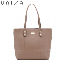 UNISA Faux Leather Quilted Tote Bag-Khaki