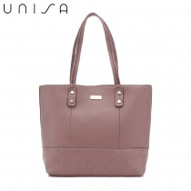 UNISA Faux Leather Quilted Tote Bag-Purple