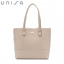 UNISA Faux Leather Quilted Tote Bag-Beige