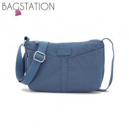 BAGSTATIONZ Crinkled Nylon Mini Sling Bag-Blue