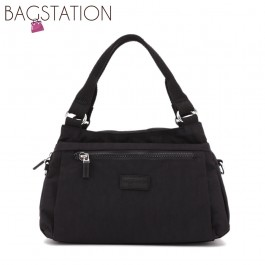 BAGSTATIONZ Crinkled Nylon Convertible Satchel Bag-Black