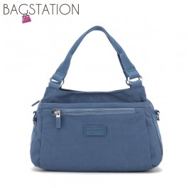 BAGSTATIONZ Crinkled Nylon Convertible Satchel Bag-Blue