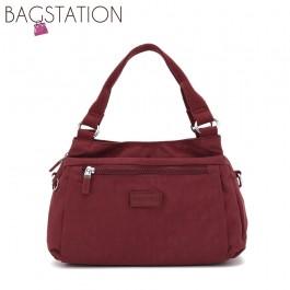 BAGSTATIONZ Crinkled Nylon Convertible Satchel Bag-Maroon