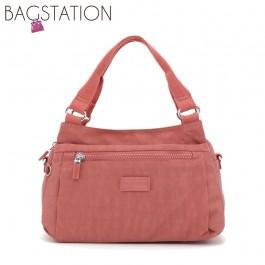 BAGSTATIONZ Crinkled Nylon Convertible Satchel Bag-Pink
