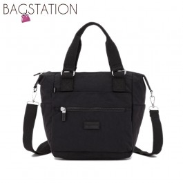 BAGSTATIONZ Crinkled Nylon Convertible Top Handle Bag-Black