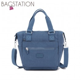 BAGSTATIONZ Crinkled Nylon Convertible Top Handle Bag-Blue