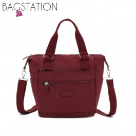 BAGSTATIONZ Crinkled Nylon Convertible Top Handle Bag-Maroon