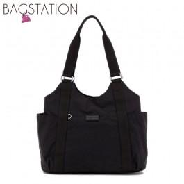 BAGSTATIONZ Crinkled Nylon Shoulder Bag-Black
