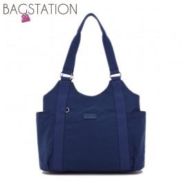 BAGSTATIONZ Crinkled Nylon Shoulder Bag-Navy Blue