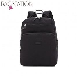 BAGSTATIONZ Crinkled Nylon Backpack-Black