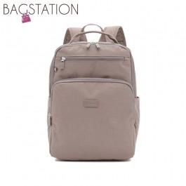 BAGSTATIONZ Crinkled Nylon Backpack-Khaki