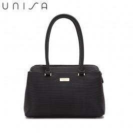 UNISA Debossed Convertible Shoulder Bag-Black