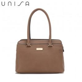UNISA Debossed Convertible Shoulder Bag-Khaki