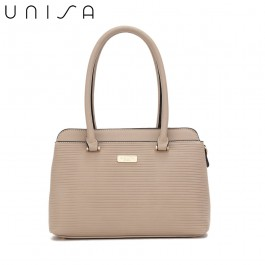 UNISA Debossed Convertible Shoulder Bag-Taupe
