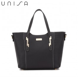 UNISA Debossed Convertible Top Handle Bag-Black