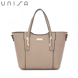UNISA Debossed Convertible Top Handle Bag-Taupe