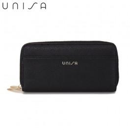UNISA Textured Double Zip-Up Purse-Black