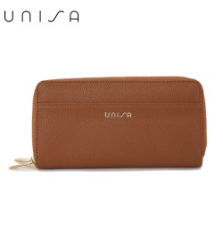 UNISA Textured Double Zip-Up Purse-Brown