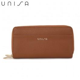 UNISA Textured Double Zip-Up Purse-Brown
