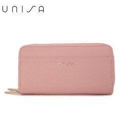 UNISA Textured Double Zip-Up Purse-Pink