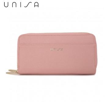 UNISA Textured Double Zip-Up Purse-Pink