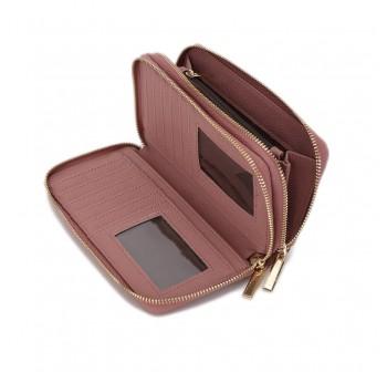 UNISA Textured Double Zip-Up Purse-Purple