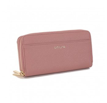 UNISA Textured Double Zip-Up Purse-Purple